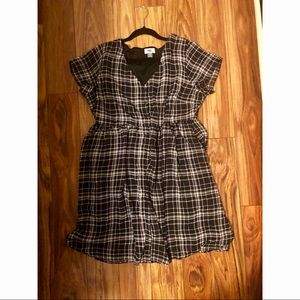 Old Navy Black Plaid Button Down Dress